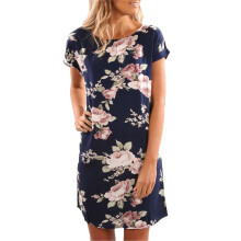 BESSKY Fashion Women Summer Sundress O-Neck Floral Printed Mini Dress Beach Party Dress_