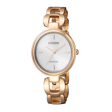 CITIZEN Eco Drive Watch - Gold Strap/White Dial 30mm Ladies [EM0423-81A]