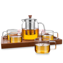 LUZHU glass teapot set a pot of tea four cups and a 700ml home office high heat-resistan glass
