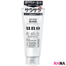 Shiseido Uno Men's Face Wash Whip Face Wash Non Scrub 130g - Black