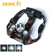 Boruit 6000LM 3x XM-L T6 LED headlight headlamp 2x 18650 Rechargeable Battery Car/AC USB Camping Fishing Cycling