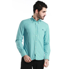 Fredperry Men- Green Long Sleeve Shirt wt Blue Stripes L