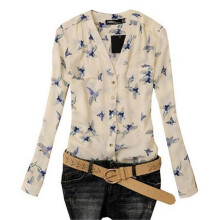 BESSKY Women's Fashion Elegant Bird Print Blouse Long Sleeve Casual Slim Shirts_