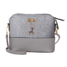 BESSKY  Womens Leather Crossbody Bag Sequins Small Deer Shoulder Bags Messenger Bag_