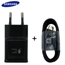 Smatton Original Samsung mobile Fast Charger Type-C Adaptive Quick Charger for S9 / S9 + / NOTE 8 adapter + cable Black
