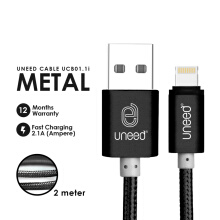 UNEED Nylon Cable Data Lightning USB 2M iOS 10 Compatible - UCB01.1i Black