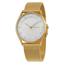 Skagen Holst White Dial Gold Stainless Steel Mesh Strap Watch [SKW2377]