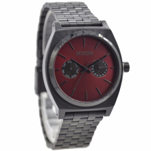 Nixon Stainless Steel Chain Ladies A9222346-2960D36HTMR Multi Fungsi Hitam Maroon Black