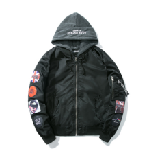 Ins V-402HP Trendy brand new Simple Design Pilot baseball jacket with Hood&Plus Cotton-Black