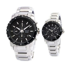 Alexandre Christie Stainless Steel Chain Couple  6141L-860D48D37SLVHT  Chronograph Silver Hitam Silver