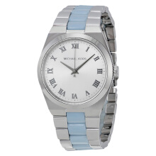 Michael Kors Channing Silver Dial Stainless Steel and Chambray Acetate [MK6150]
