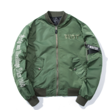 Ins V-373 Trendy brand new Simple Design Pilot baseball jacket-Navy Green