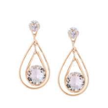 Fashionmall Zirconium Shi Water Drop Shape Double-layer Simple Rhinestone Earrings Golden