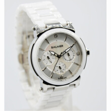 Balmer  Ceramic Sapphire Crystal Stainless Steel Chain Ladies B.7929L-774D35PTHT Multi Fungsi Putih Hitam White