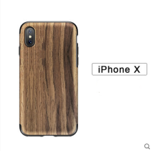 Ins V-136 real wood&TPU anti-fall crossover design Iphone X cover case-Brown