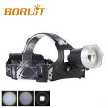 Boruit B13 LED Black Headlamp Rechargeable Zoomable Head Light Waterproof Torch Lights XM-L2 Latest Version fishing
