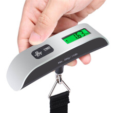 BESSKY New 50kg/10g Portable LCD Digital Hanging Luggage Scale Travel Electronic Weight_ Silver