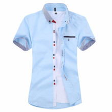 Zanzea Mens Stripe Cotton Summer Casual Fashion Shirts Spell Color Short Sleeve Dress Shirts