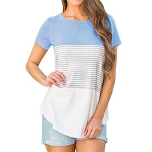 BESSKY Women Short Sleeve Triple Color Block Stripe T-shirt Casual Blouse_