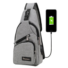 BESSKY Usb Outdoor Sports Casual Canvas Unbalance Backpack Crossbody Sling Shoulder Bag_
