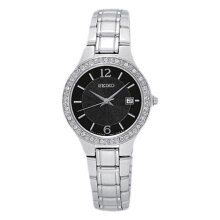 Seiko Ladies Black Dial with Diamond Bezel Stainless Steel Bracelet [SUR785P1] Silver