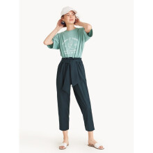 Cropped Frill Waist Front Tie Pants - Dark Green