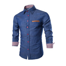 BESSKY Luxury Mens Casual Stylish Slim Fit Long Sleeve Casual Formal Dress Shirts Tops_
