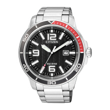 CITIZEN Eco Drive Watch - Silver Strap/Black Dial 47mm Gents [AW1520-51E]