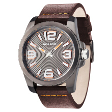 Police Vinyl Gun Dial Ion Plating Case Brown Leather Strap [PL.14761JSU/61] Brown