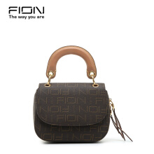 FION PU/Cow Leather Sling Bag - Brown & Camel