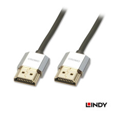LINDY #41671 CROMO Slim High Speed HDMI Cable with Ethernet 1m - Black