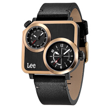 Lee Watch Dual Time Jam Tangan Lee Metropolitan Gents Kulit Hitam M116DRL1-17 Black