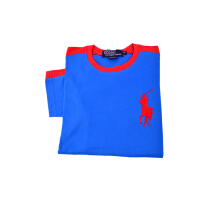 POLO RALPH LAUREN - Classic-Fit Cotton Jersey Big Pony Tee Blue-Red