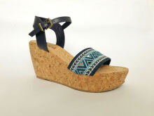 THESAK Solo Wedges Blue Embroidery