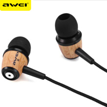 OAC-AWEI Q9 Earphone In Ear Fone de ouvido Wooden Earphone Stereo Auriculares Audifonos Nylon Weave Wire Headset Yellow