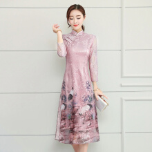 Ninataly Chinese Style Cheongsam Women Dress Spring Sweet Embroidered Seven Points Sleeve Slim Organza Dress Pink L