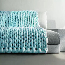 BESSKY 100X80cm Hand Chunky Knitted Blanket Thick Wool Bulky Knitting Throw_