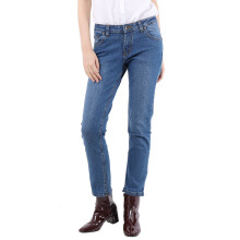 Basic Straight Cut Long Pants Jeans Denim Mobile Power Ladies - I1231