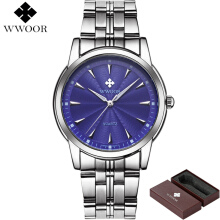 WWOOR Brand Luxury Men Waterproof Stainless Steel Business Quartz Watches Men's Sport Casual Wrist Watch Male Clock 8028
