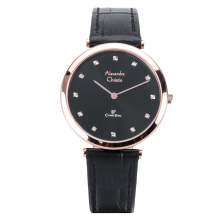 Alexandre Christie AC 8540 LH LRGBA Ladies Classic Black Dial Leather Strap [ACF-8540-LHLRGBA]
