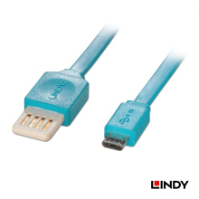 LINDY #30921 back Flat Reversible USB 2.0 Cable, Type A to Micro-B, Blue, 1m