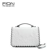 FION Cow & Goat Leather Sling Bag - White