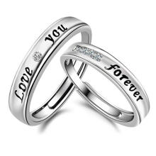 Farfi Love You Forever Rhinestone Lover Couple Promise Finger Ring Set Jewelry Gift Silver
