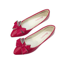 BESSKY Fashion Bow Pointed Toe Women Flats Woman Flat Shoes Ballet Flats Ladies_