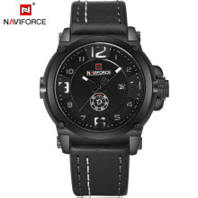 Naviforce 9099 New Fashion Mens Watches  Militray Sport Quartz Men Watch Leather Waterproof Male Wristwatches Black