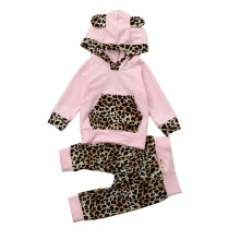 BESSKY Newborn Infant Baby Girl Leopard Print Hoodie Tops+Pants Outfits Clothes Set _