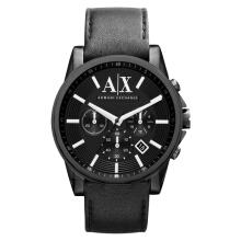 Armani Exchange Chronograph Black Dial Stainless Steel Case Leather Strap [AX2098]