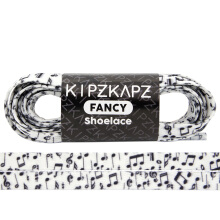 KIPZKAPZ XS7 Flat Printed Shoelace - White Music [8mm]