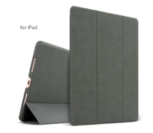 Ins AP-109 Super Thin PU Artificial deer skin pattern Surface scrub treatment Apple Ipad Pro10.5 protective cover-Grey