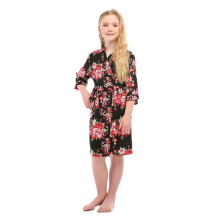 Girl's Floral Rayon Cotton Kimono Robe for Bridesmaid Nightgown